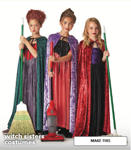Witch Sisters Costumes with Patterns. Make This.