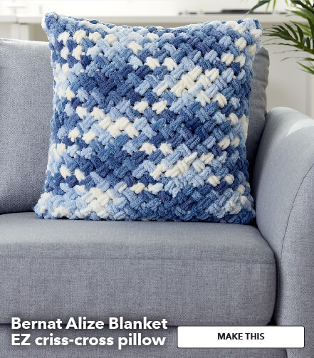 Bernat Alize blanket EZ Criss-Cross Pillow. Make This.