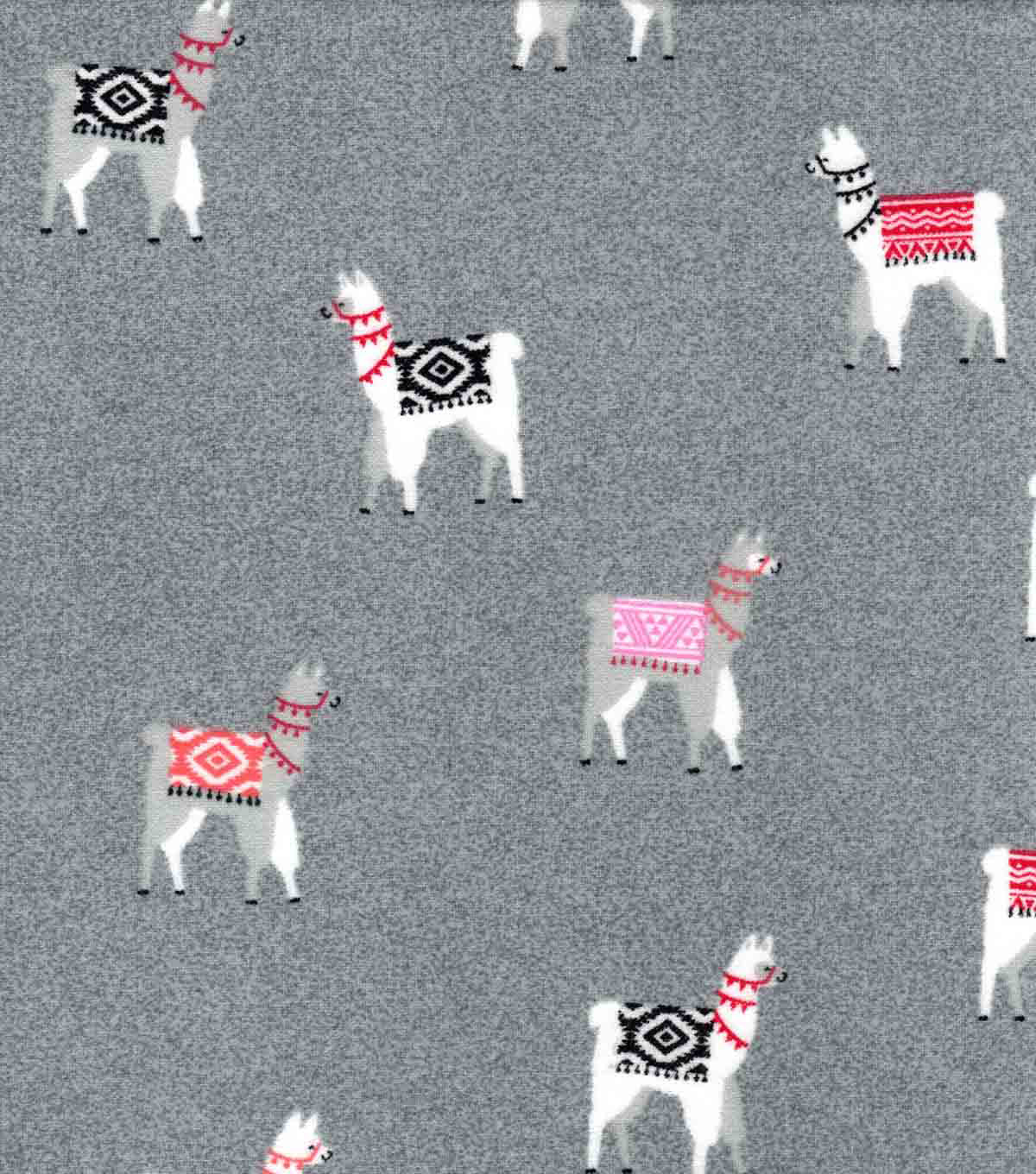 Luxe Flannel Fabric-Pink Gray Tribal Alpaca