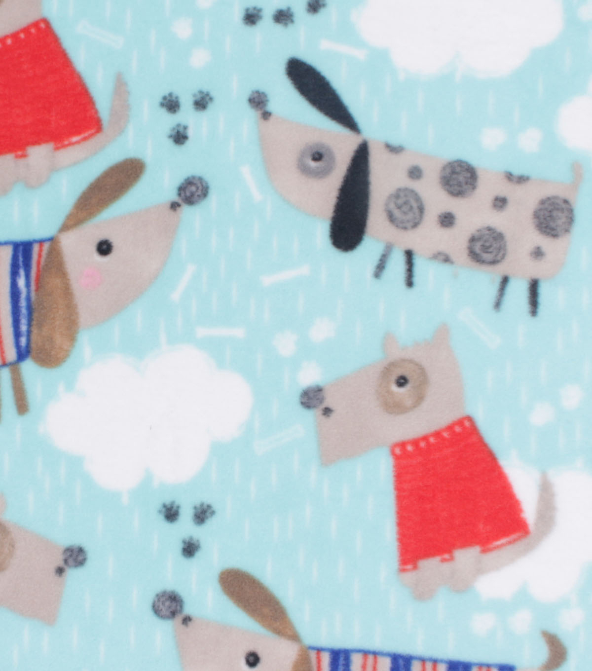 Anti-Pill Plush Fleece Fabric-Rainy Day Dogs