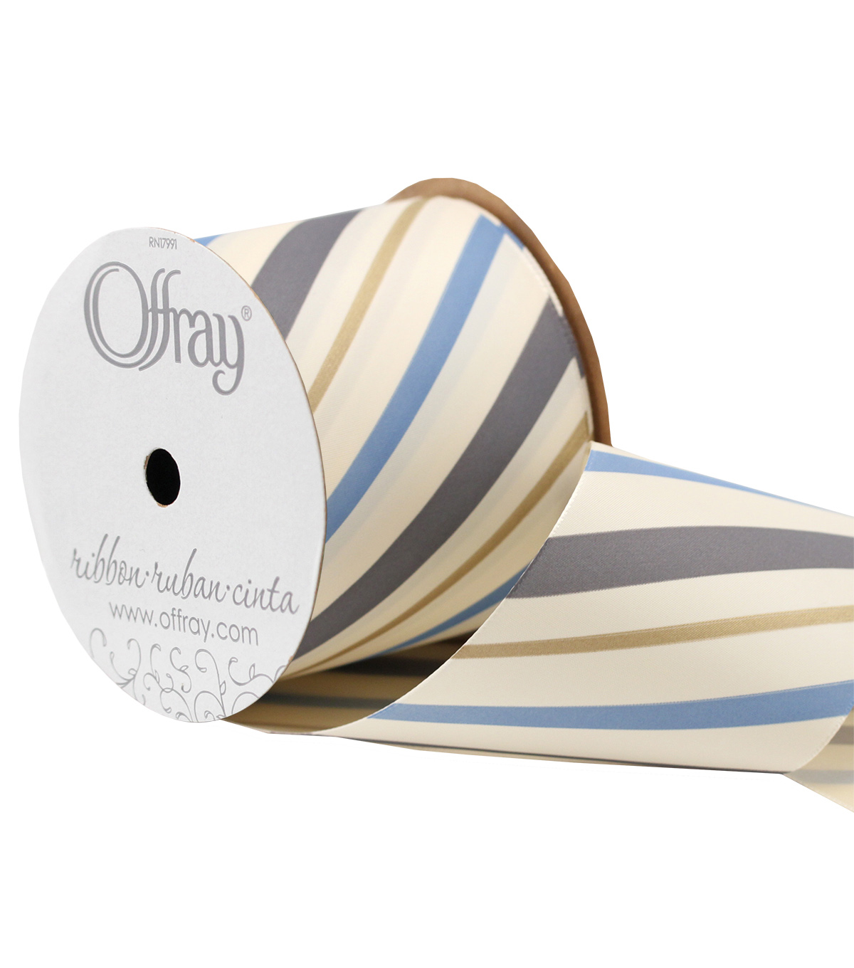 Offray 3\u0027\u0027 x 15\u0027 Stripe Ribbon-Gray/Blue/Gold/Cream