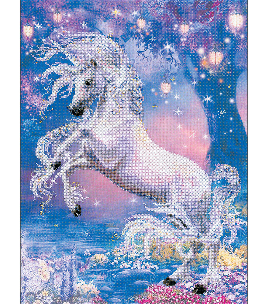 Unicorn Stamped Cross Stitch Kit 14 Count