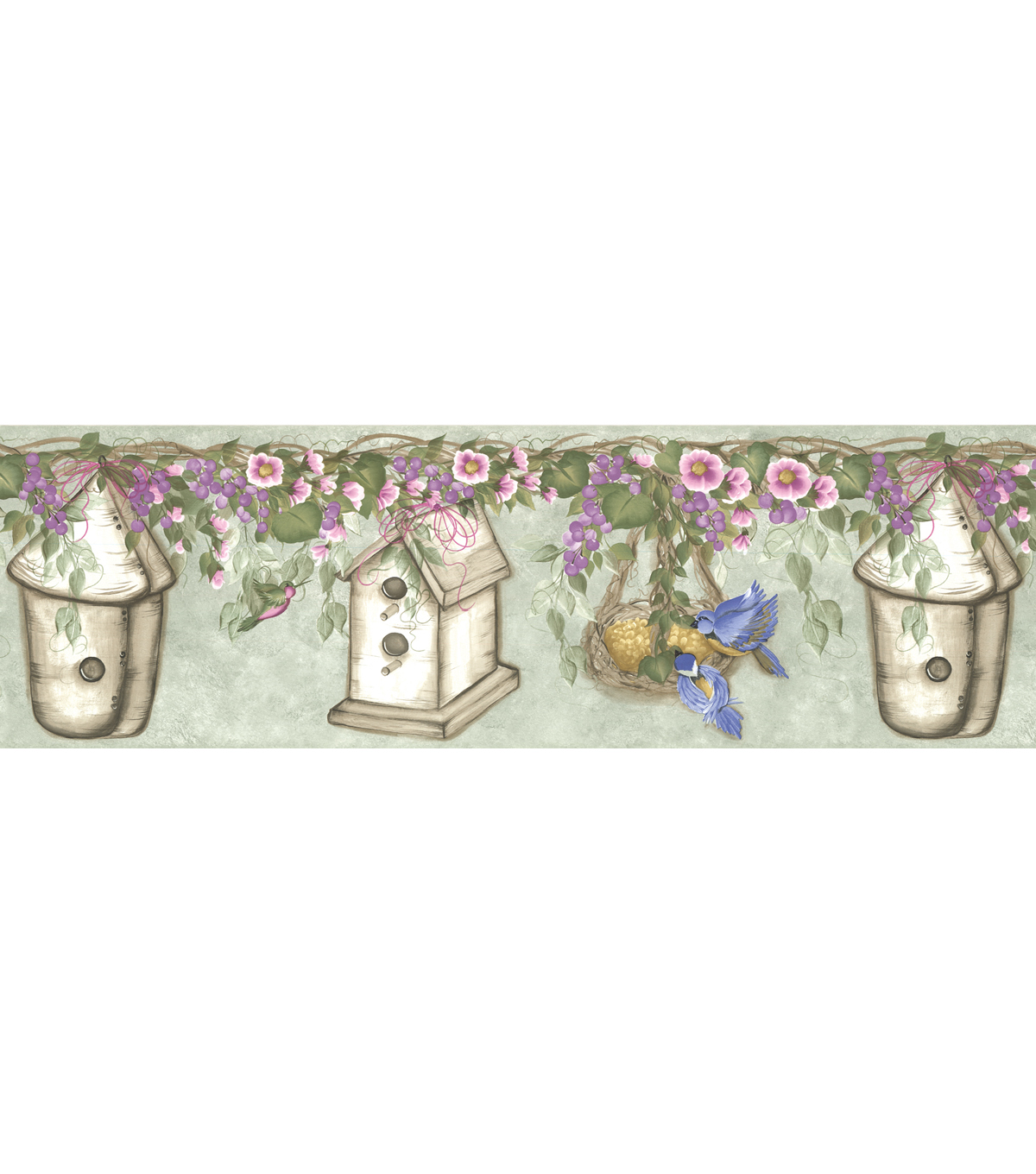 Whimsical Bird House Floral Wallpaper Border, Green Sample