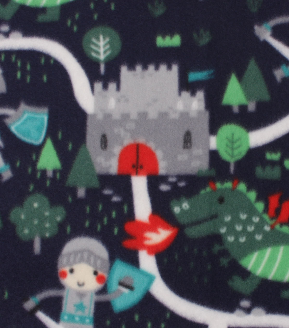 Blizzard Fleece Fabric 59\u0022-Dragons and Knights