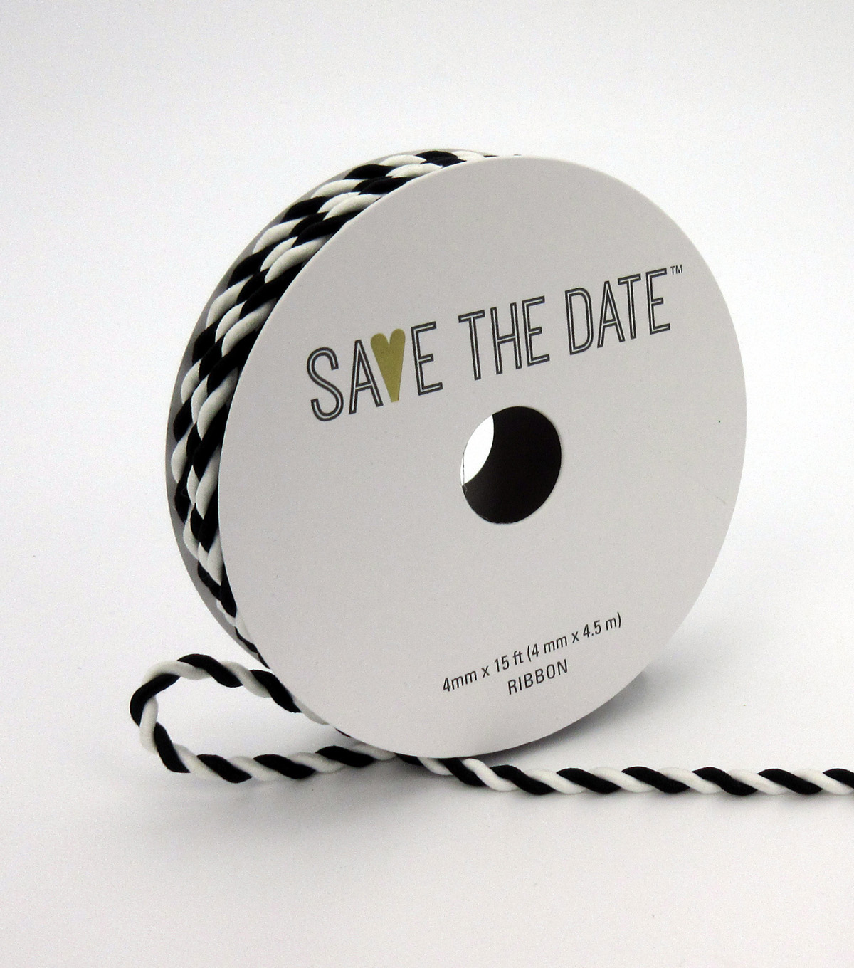Save the Date 4mm x 15ft Cord-Black White Twist
