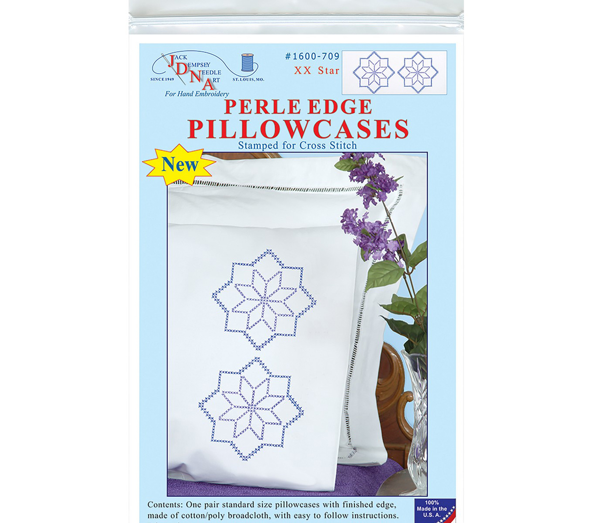 Jack Dempsey Stamped Pillowcases W/White Perle Edge 2/Pkg-XX Star