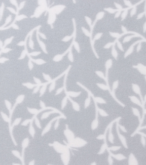 Blizzard Fleece Fabric 59\u0022-Gray Leaves And Butterflies