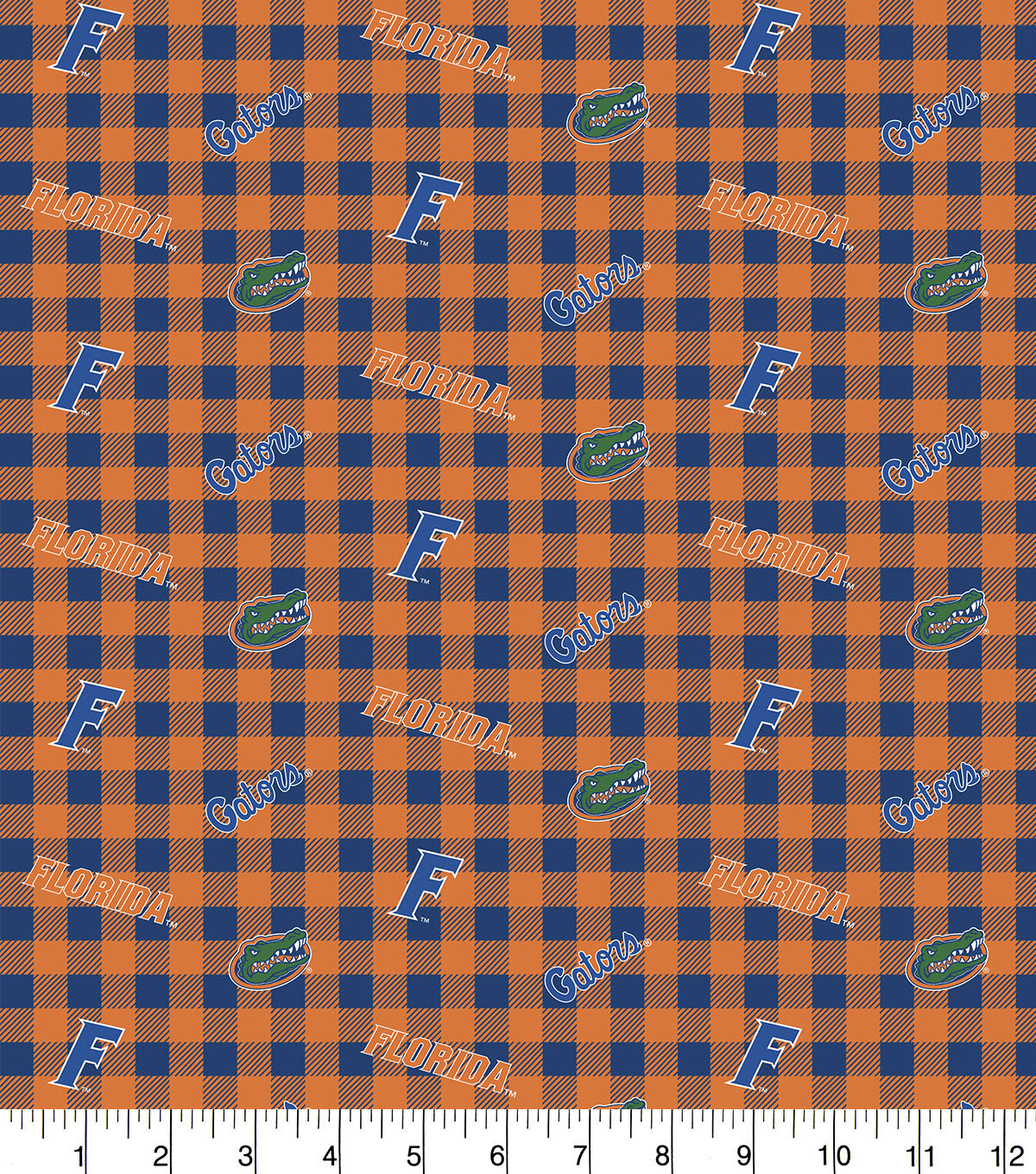 Florida Gators Flannel Fabric-Checks