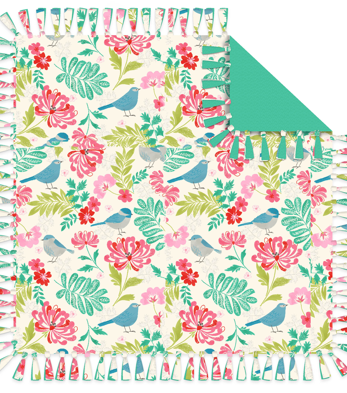 No-Sew Throw Fleece Fabric 72\u0022-Birds And Flowers