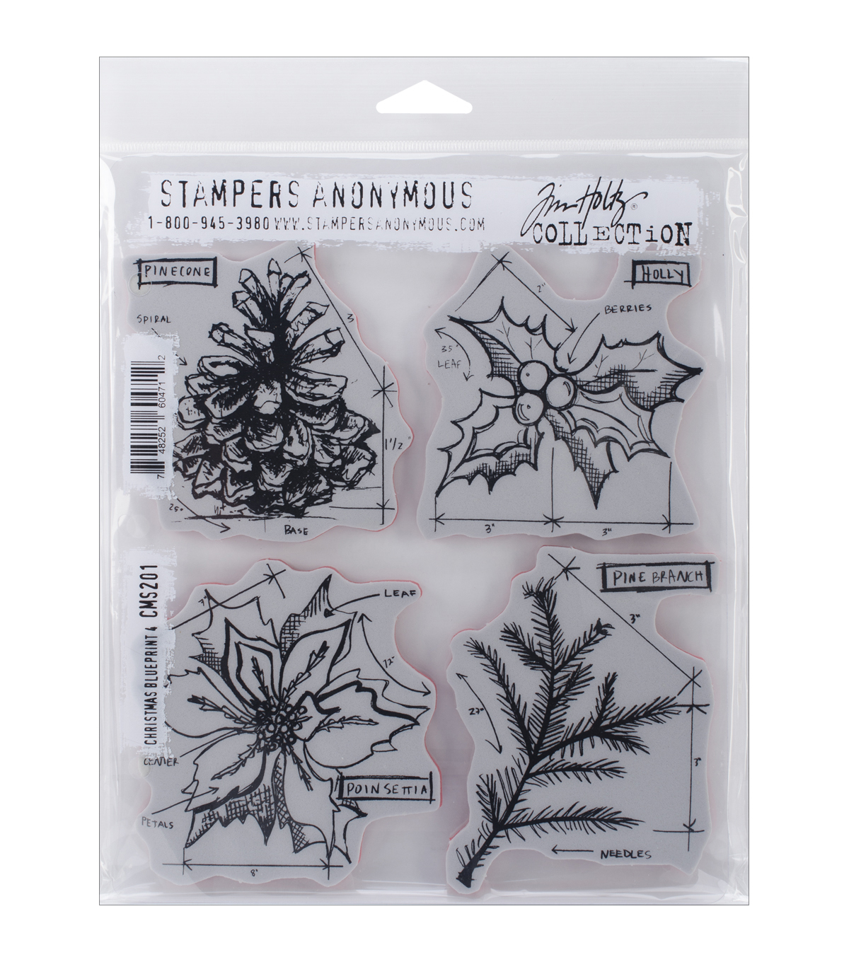 "Tim Holtz Cling Rubber Stamp Set 7""X8.5"" Christmas"
