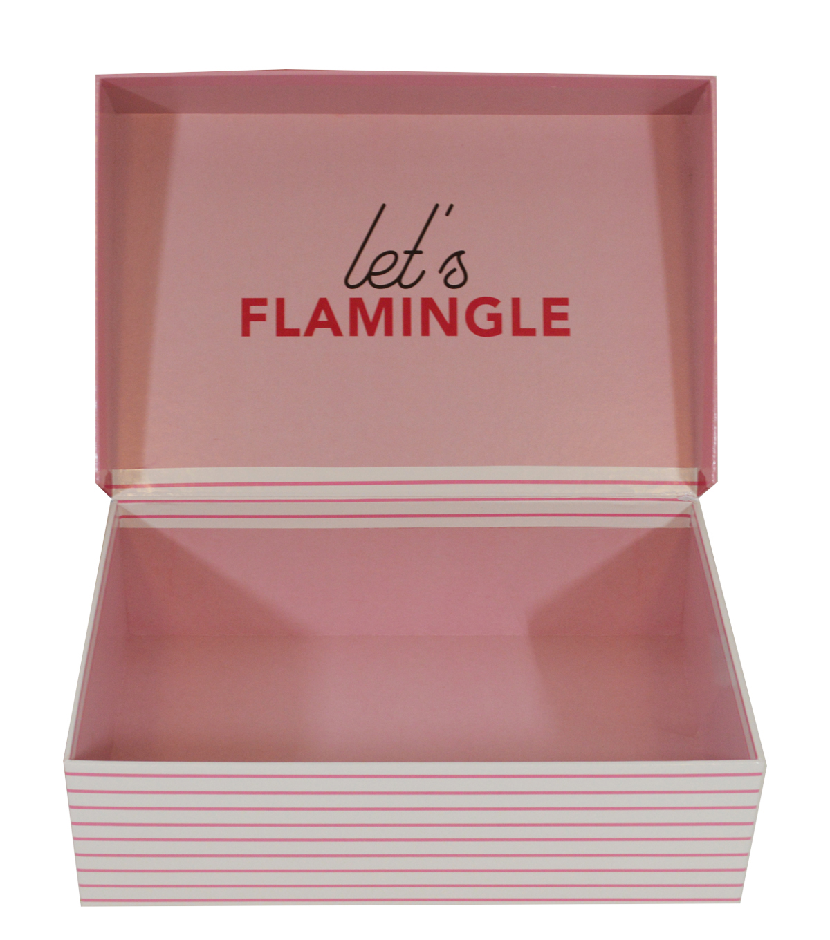 Organizing Essentials Small Flip Top Box-Let\u0027s Flamingle on Stripes