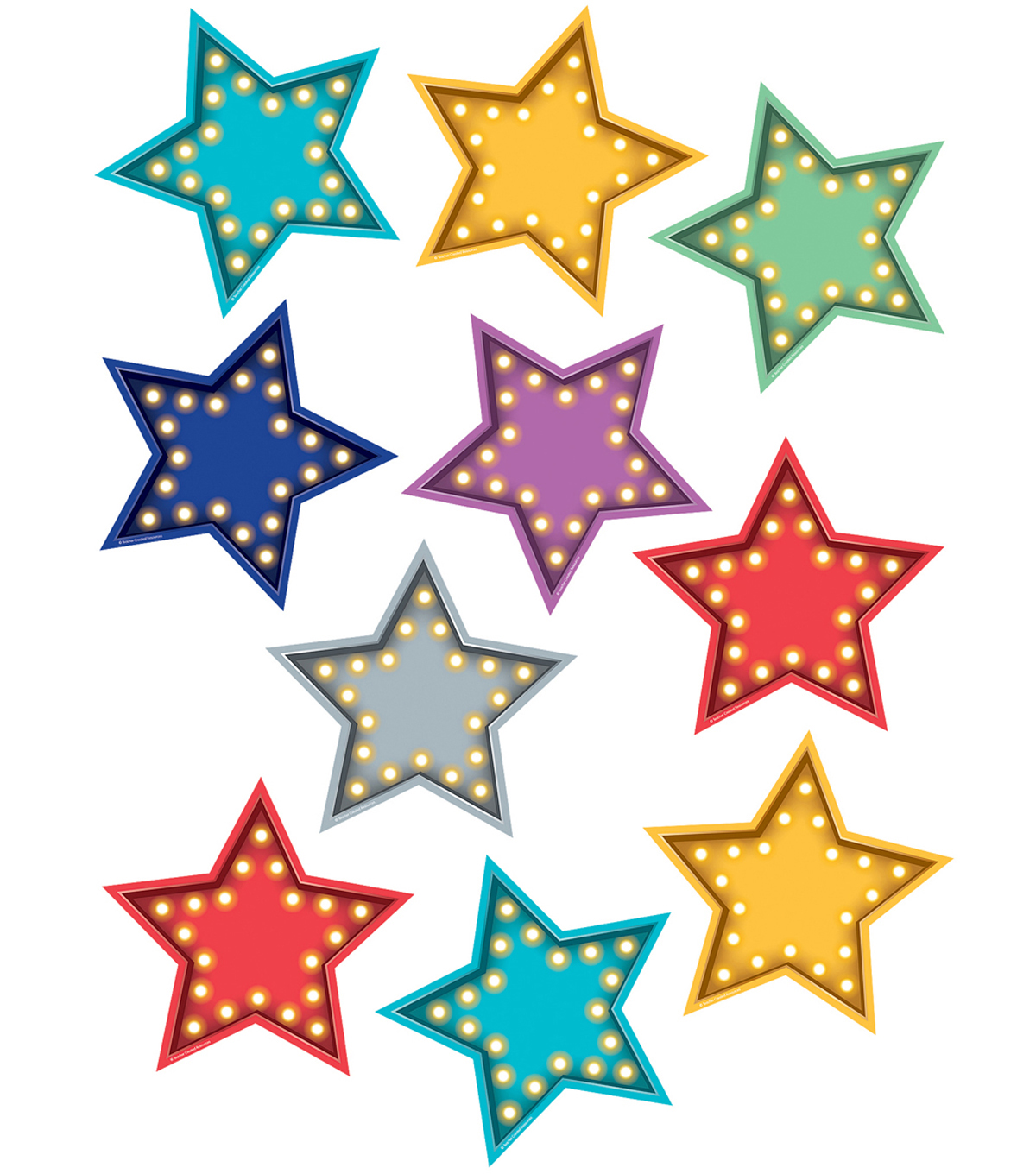 Teacher Created Resources Marquee Stars Accents, 30 Per Pack, 3 Packs