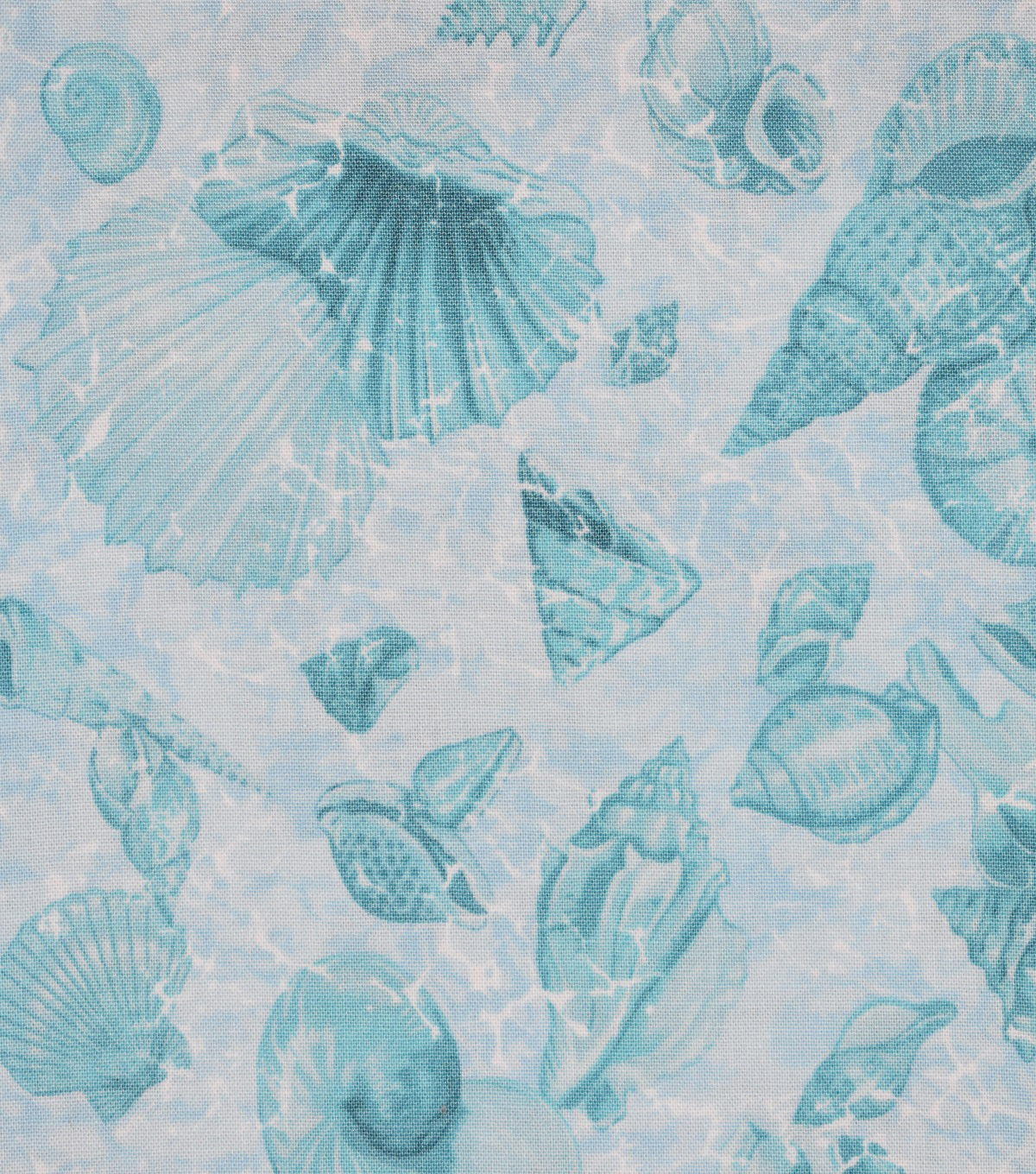 Novelty Cotton Fabric -Mixed Shells on Sea Foam
