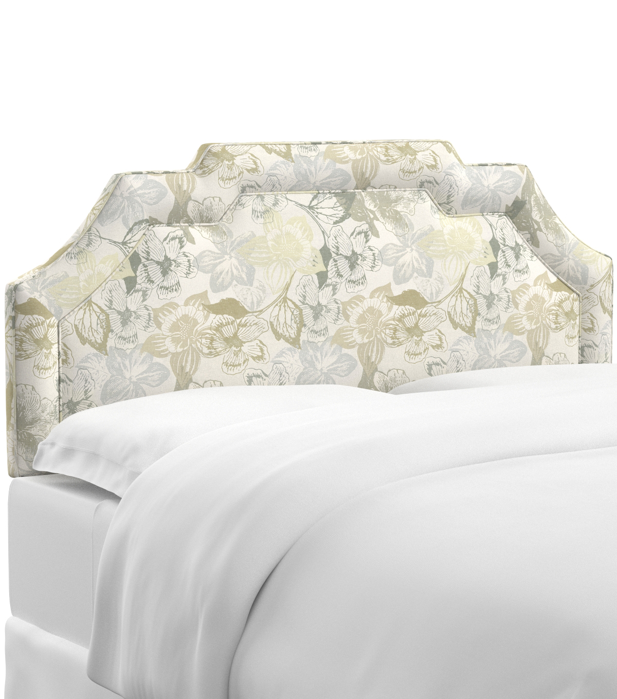 Skyline Furniture Notched Border Headboard-King, Peyton Linen