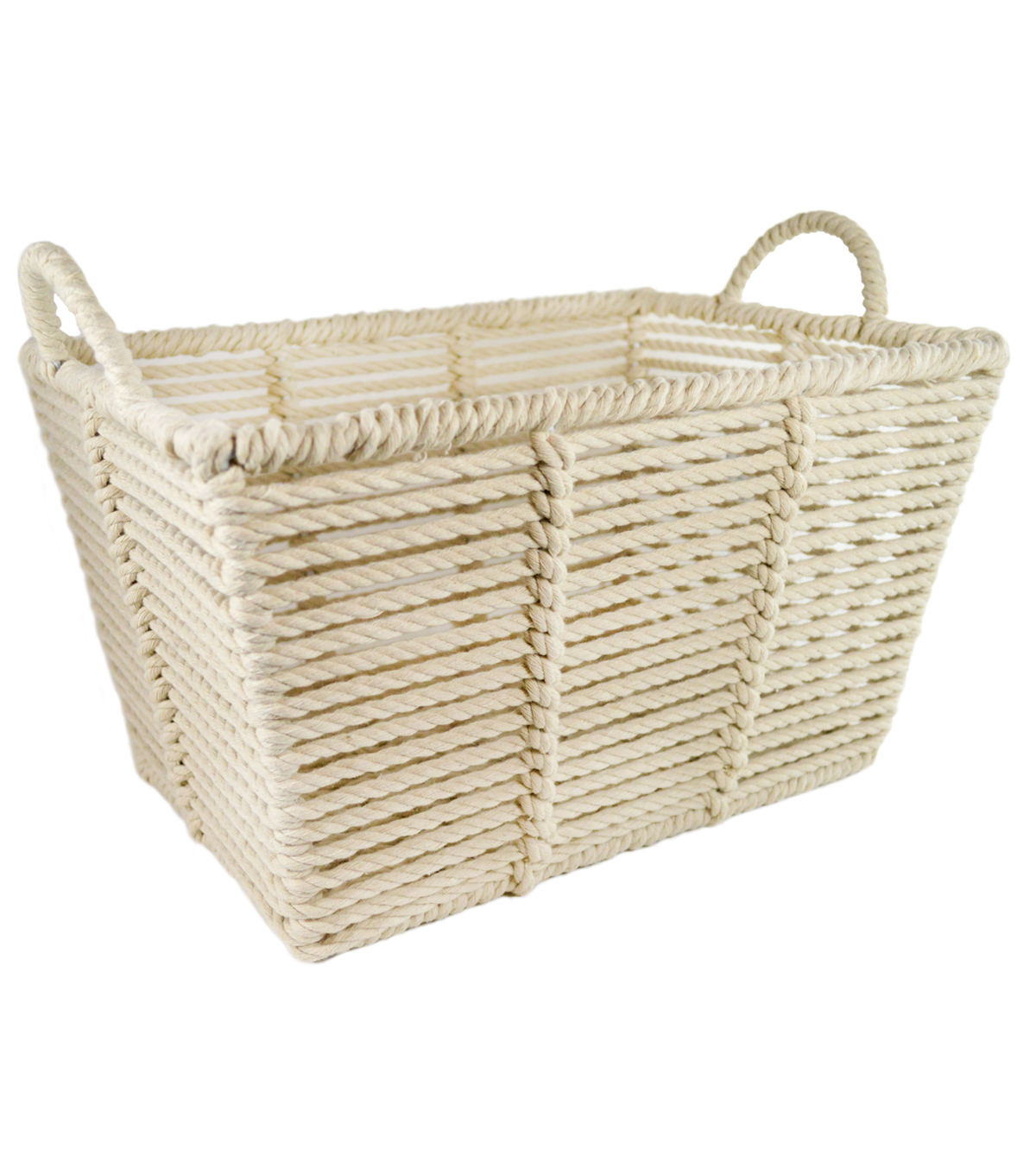 Medium Laundry Storage Macrame Bin-White