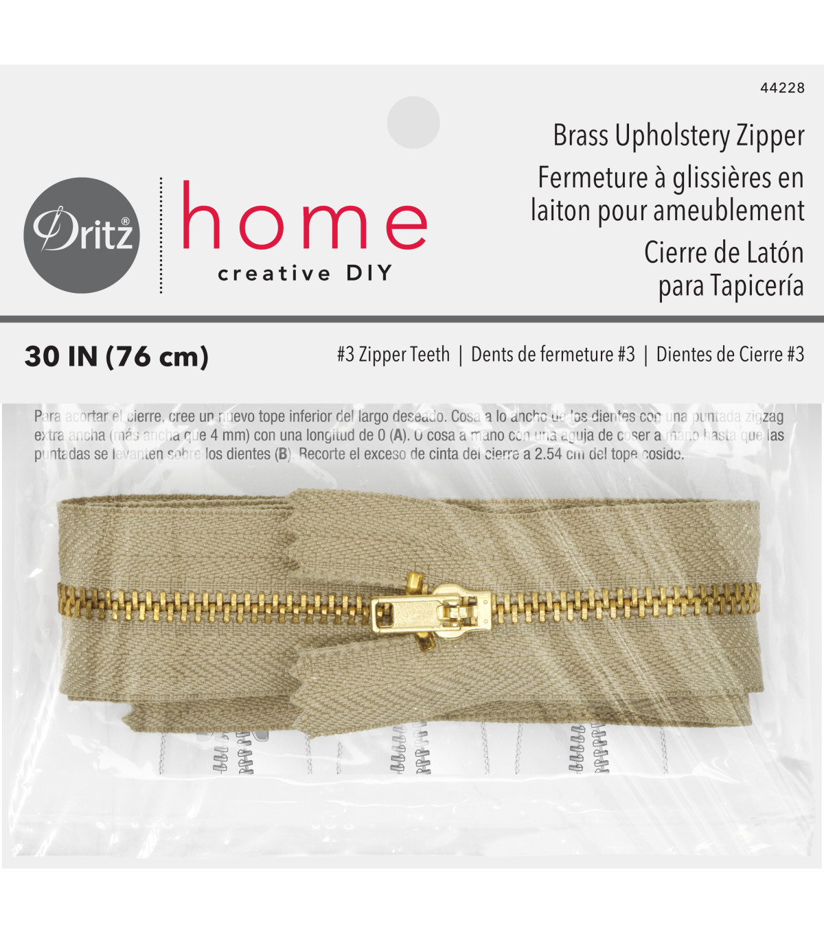 Dritz Home Brass Zipper Chain 0.56\u0022x30\u0022