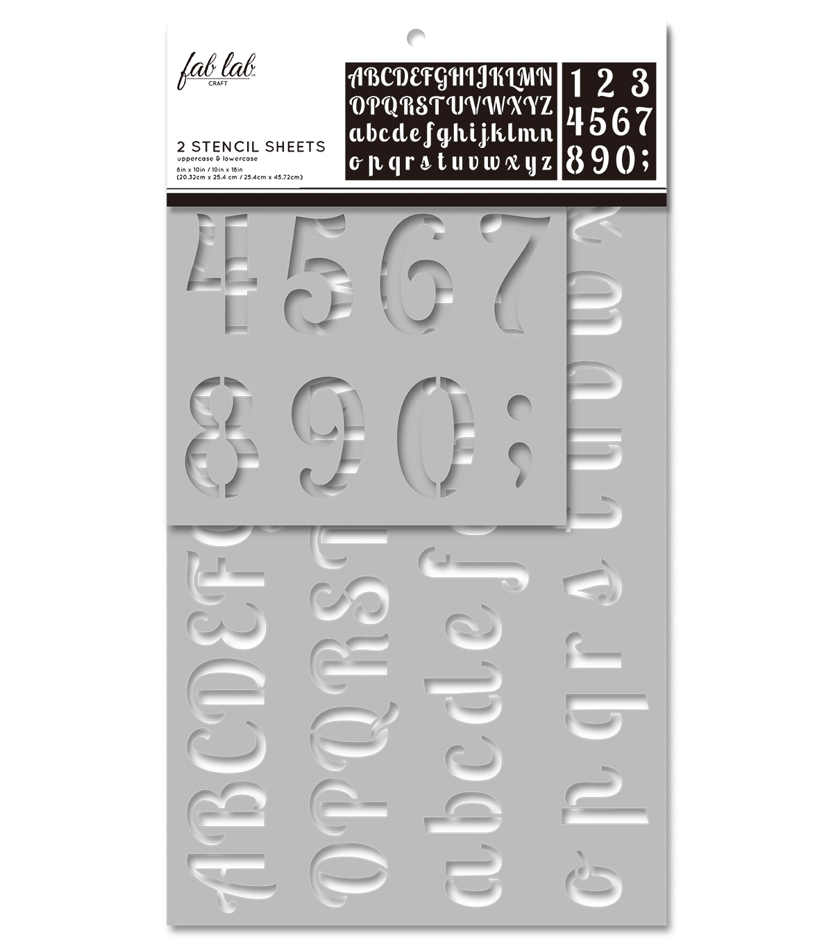 Fab Lab 2 pk Stencil Sheets-Uppercase & Lowercase Alphabet
