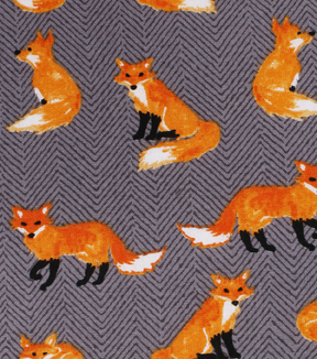 Novelty Cotton Fabric 43\u0022-Foxes On Gray