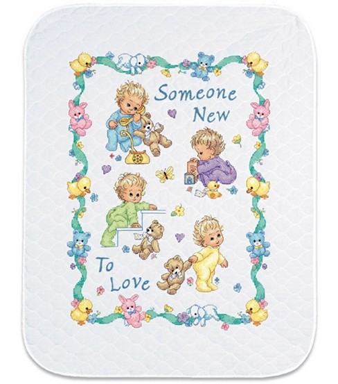 Dimensions Baby Hugs Quilt Stamped Cross Stich Kit Someone New