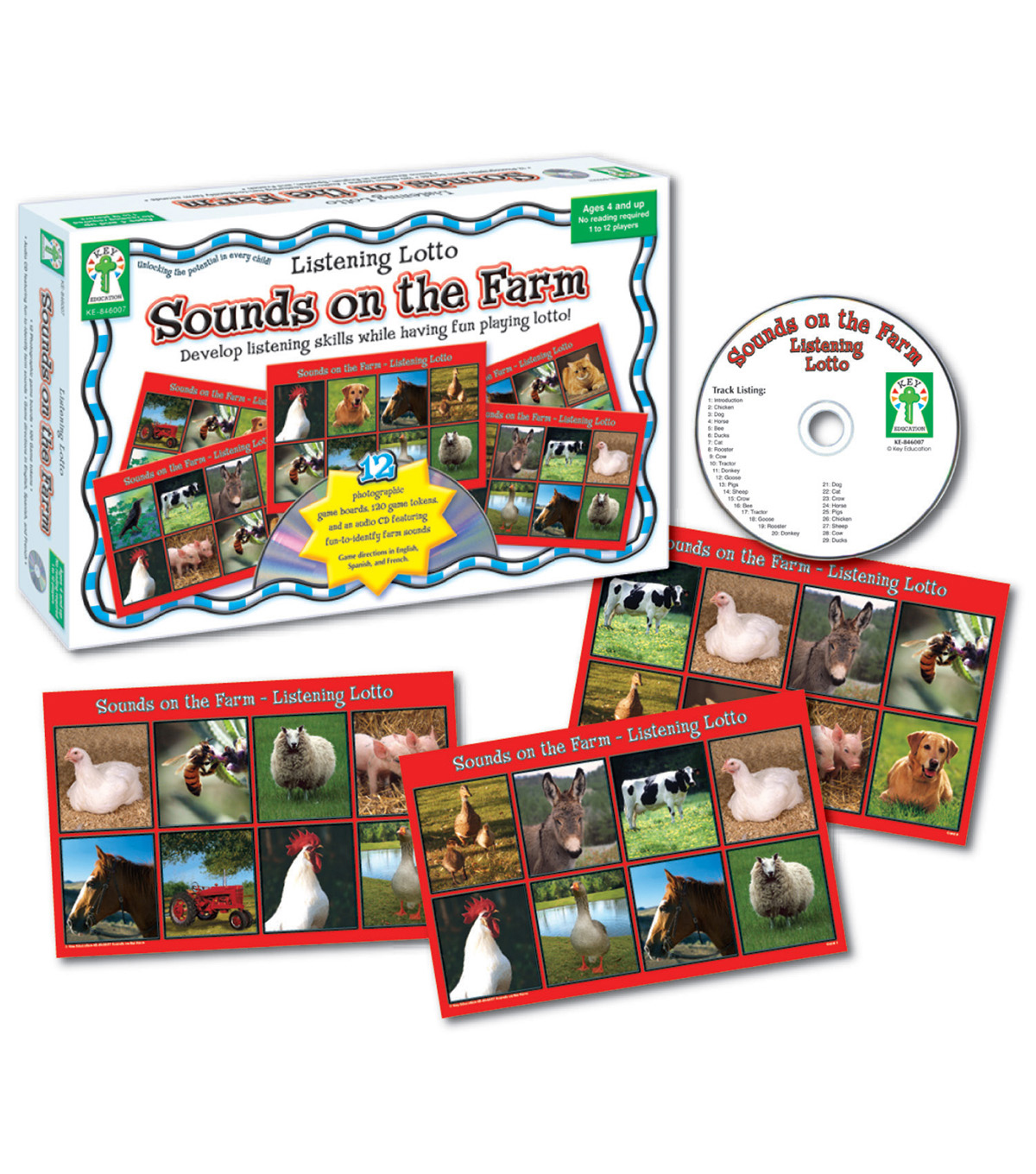 Key Education Listening Lotto: Sounds on the Farm Board Game, Grade PK-1