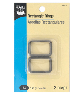 Dritz 1\u0022 Rectangle Rings-Gunmetal