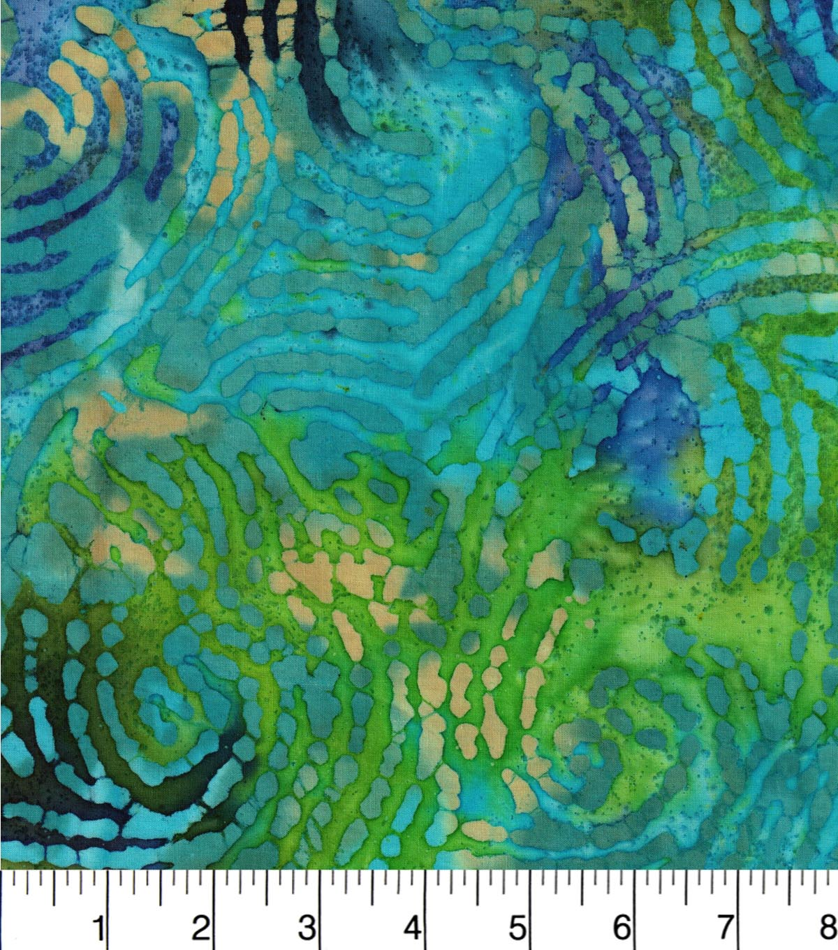 Legacy Studio Indian Batiks Cotton Fabric -Waving Lines Teal