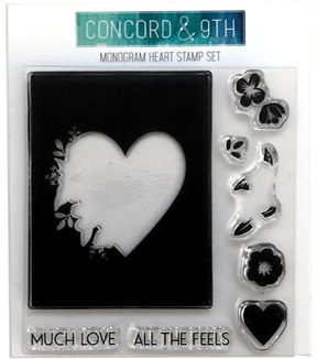 Concord & 9th 8 pk Clear Acrylic Stamps-Monogram Heart