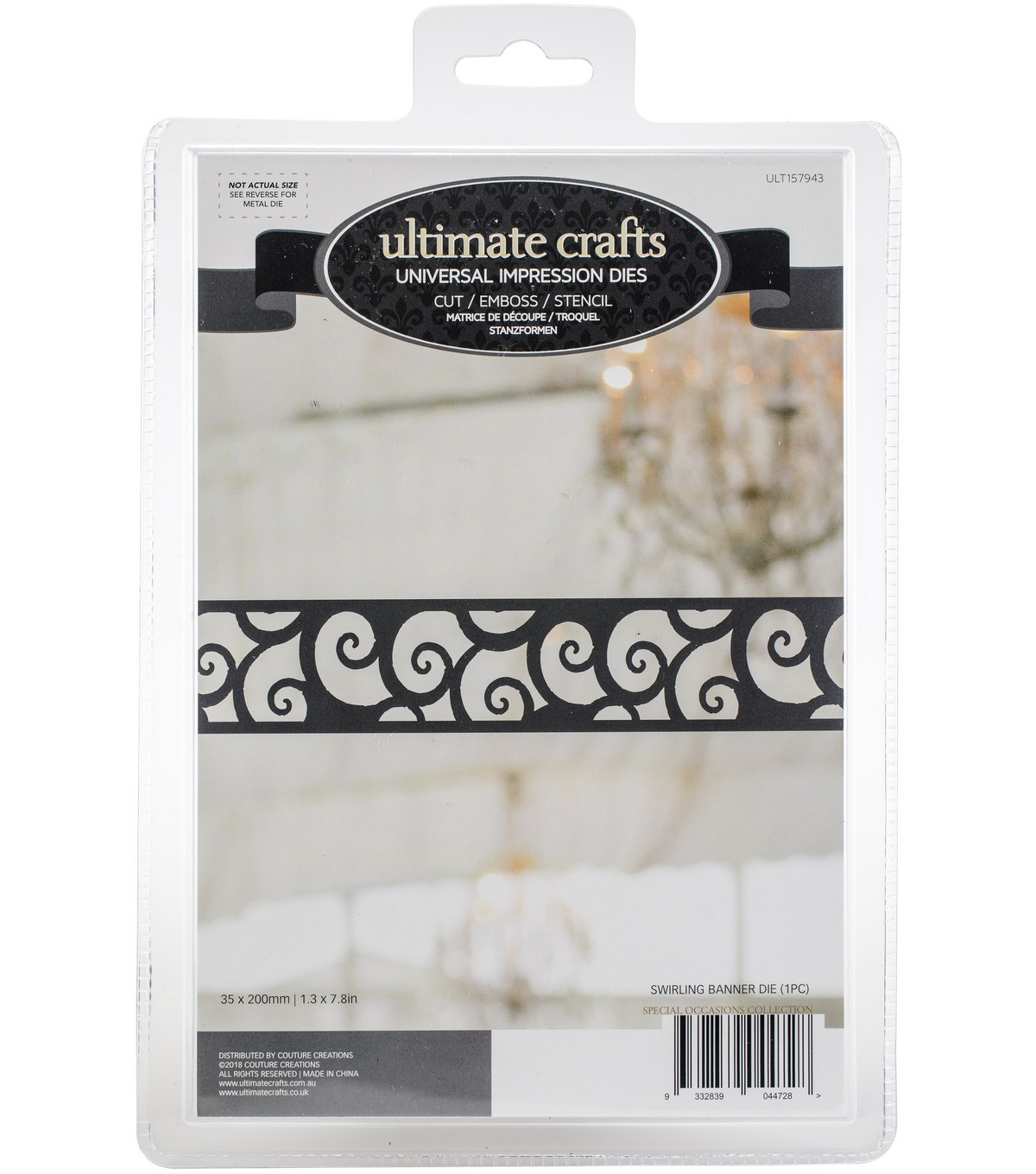 Ultimate Crafts Special Occasions Die-Swirling Banner 1.3\u0022X7.8\u0022