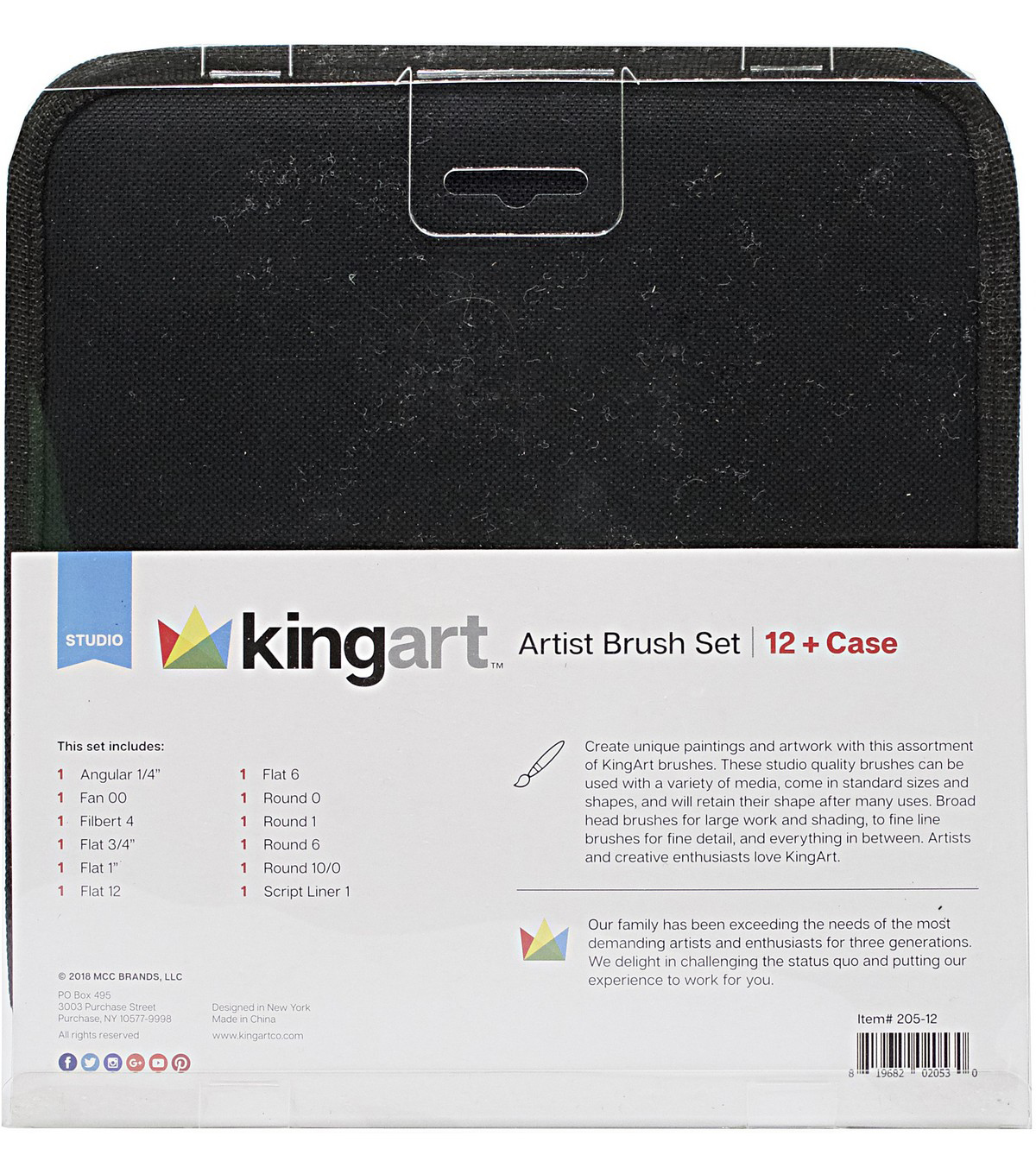 KINGART Artist Brush Set & Case 12/Pkg