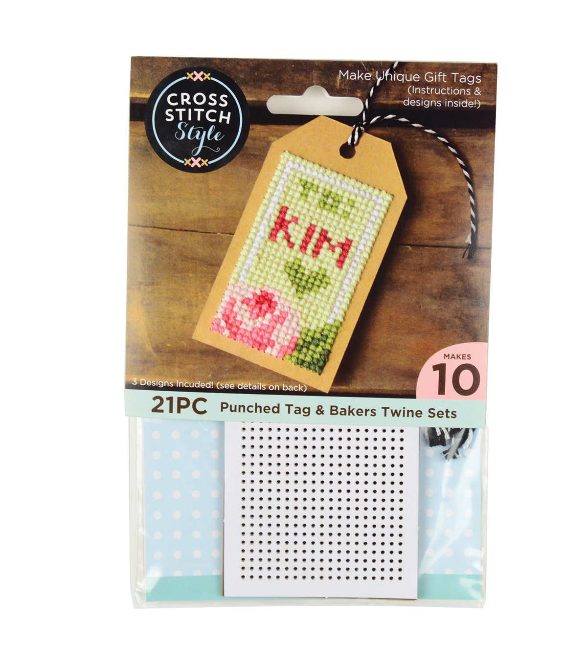 Cross Stitch Style Punched Tag & Bakers Twine Sets