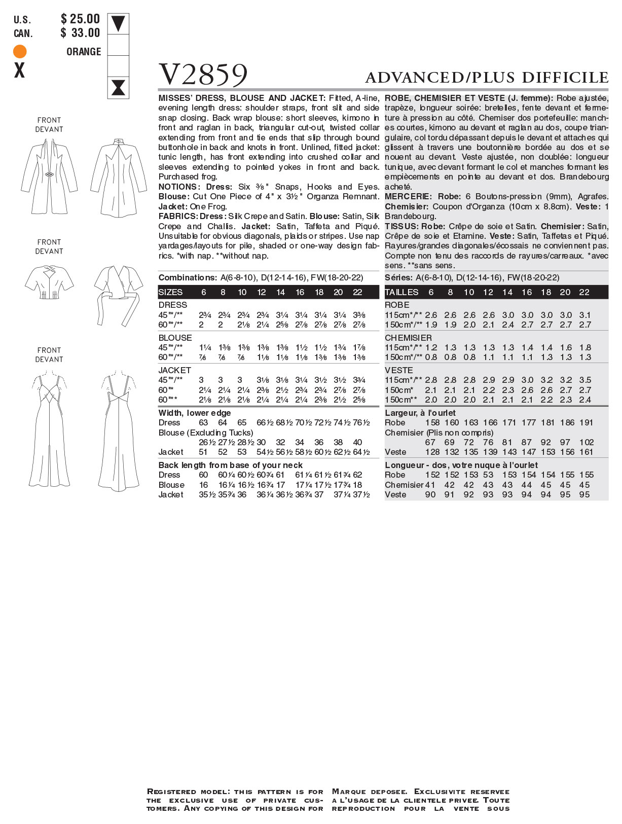 Mccall Pattern V2859 Fw (18-20--Vogue Pattern