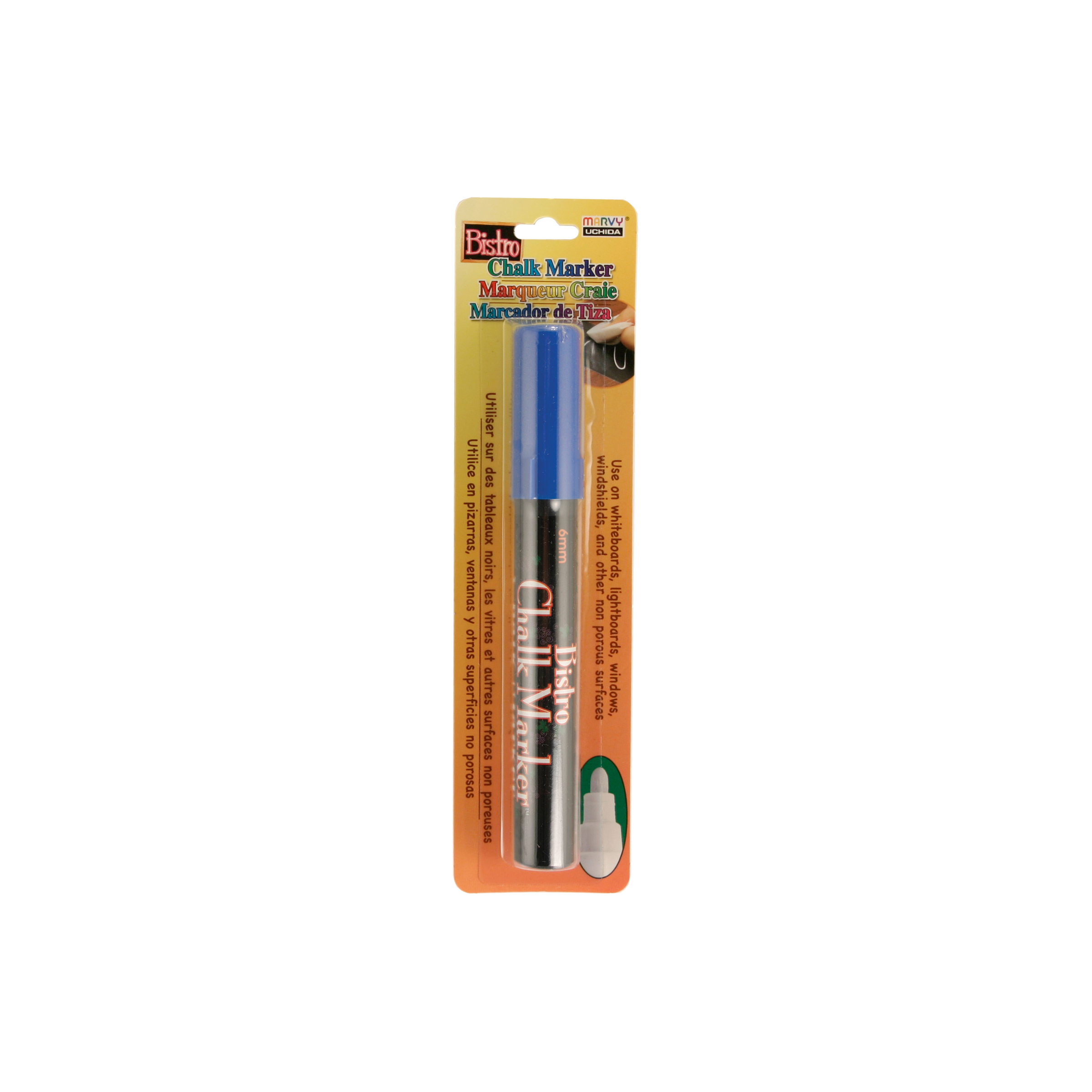 Bistro Chalk Marker 6mm Bullet Tip 1/Pkg-White, Blue