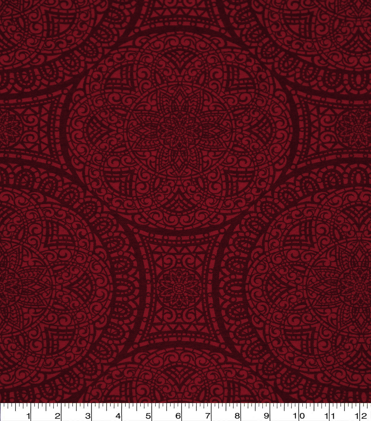 Wide Flannel Fabric-Red Mediallion
