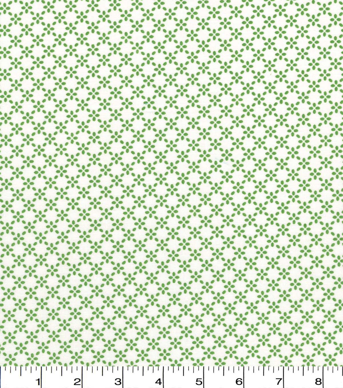 Quilter\u0027s Showcase Cotton Fabric -Kiwi Linked Floral on White