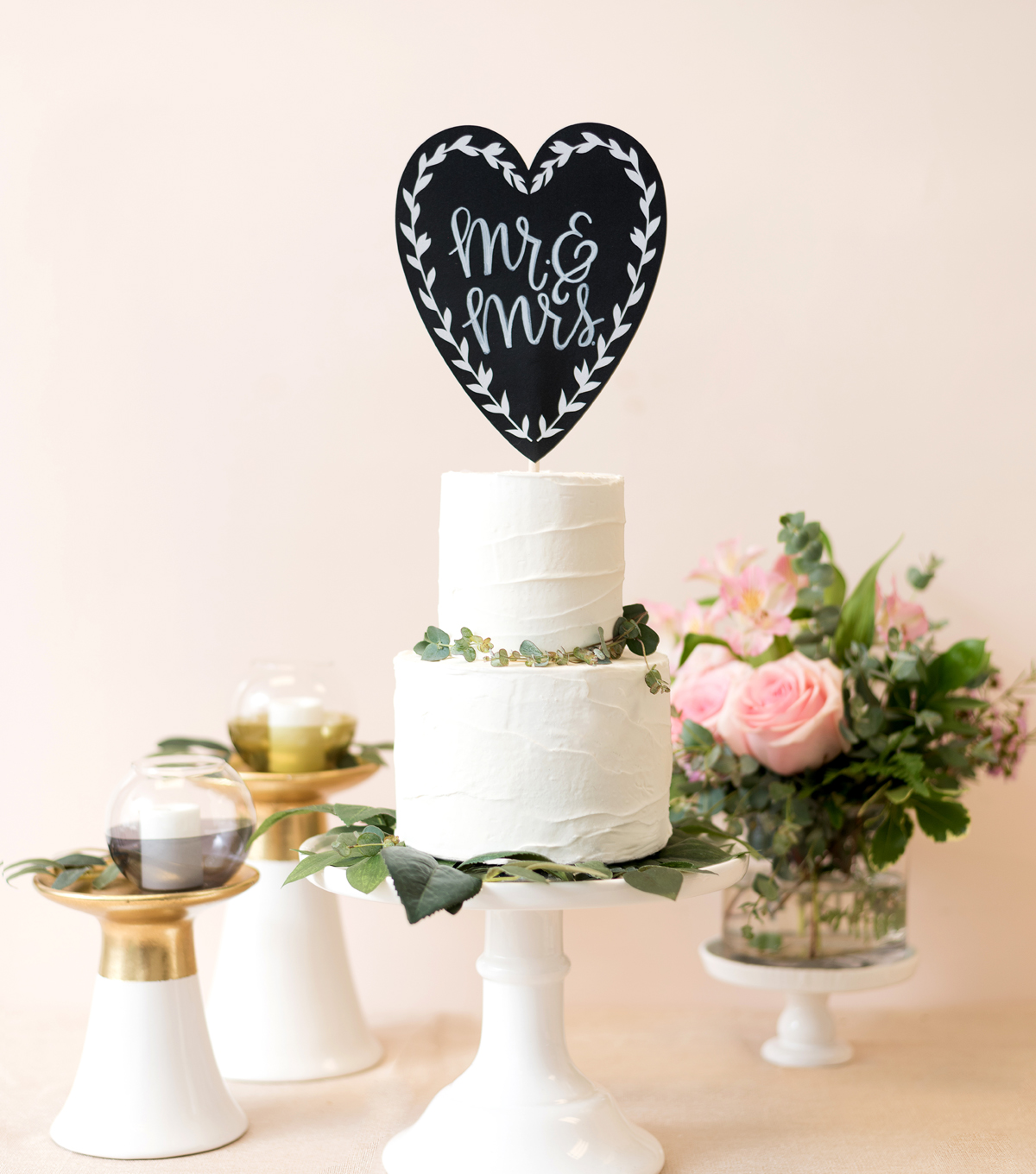 Save The Date Chalkboard Cake Topper