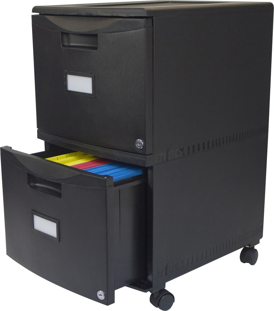 Storex 2-drawer Mobile File Cabinet-Black