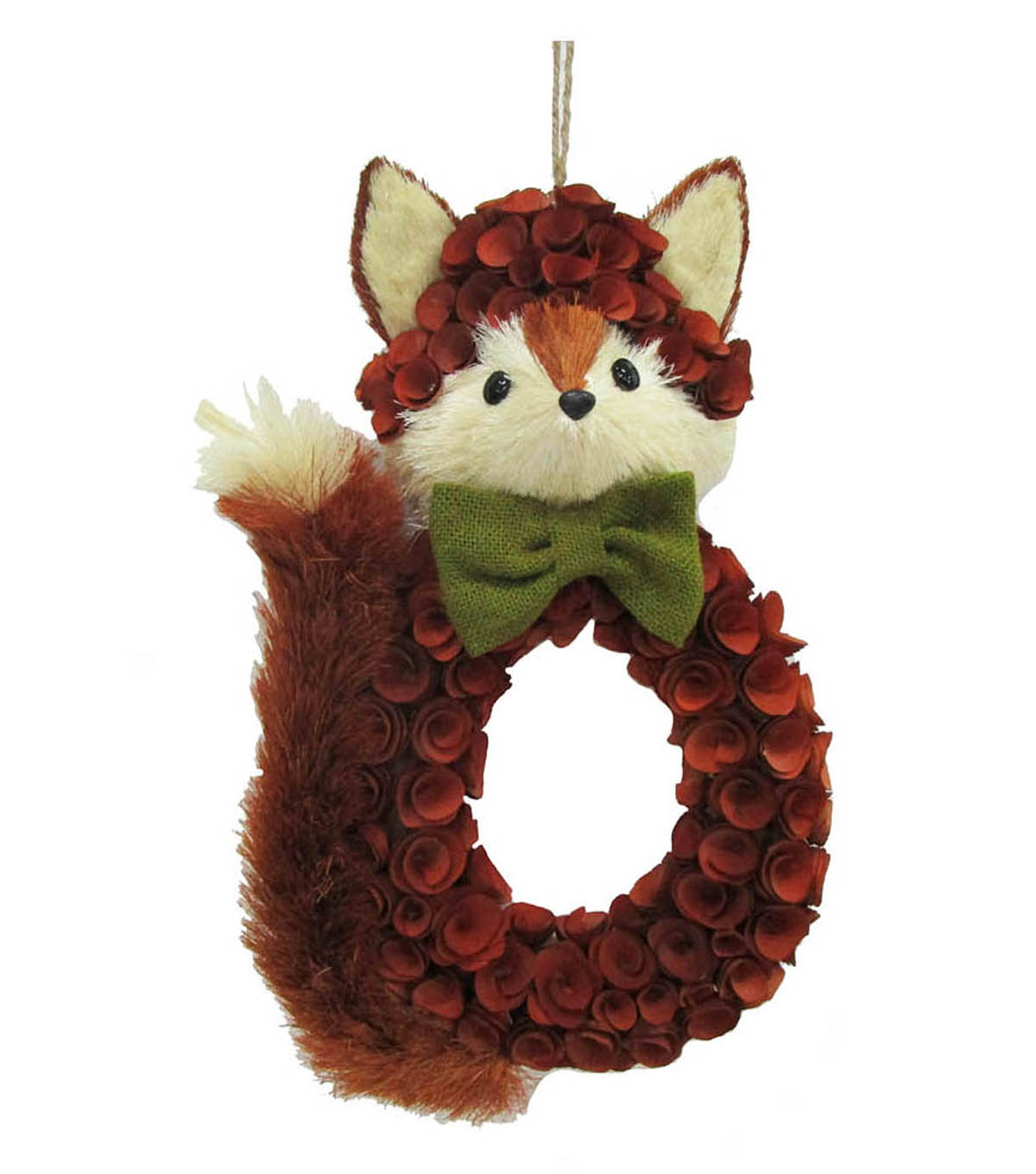 Blooming Autumn Wood Flower & Sisal Fox Wreath