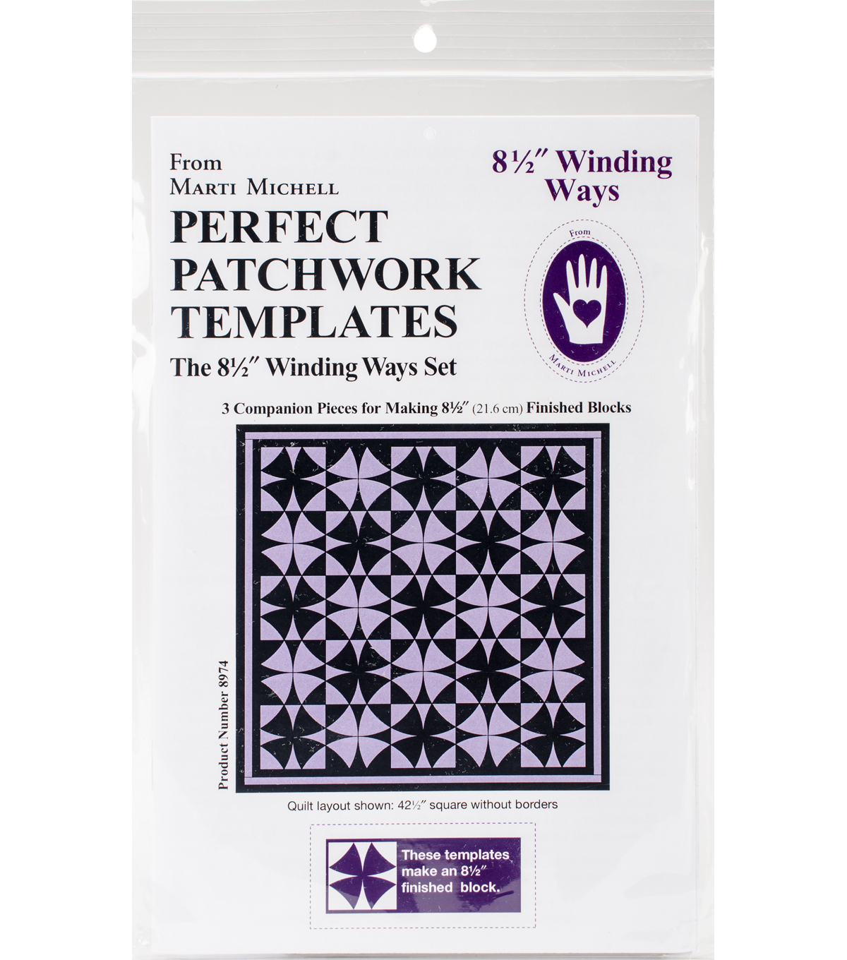 Marti Michell 3 pk 8.5\u0027\u0027 Perfect Patchwork Templates-Winding Ways