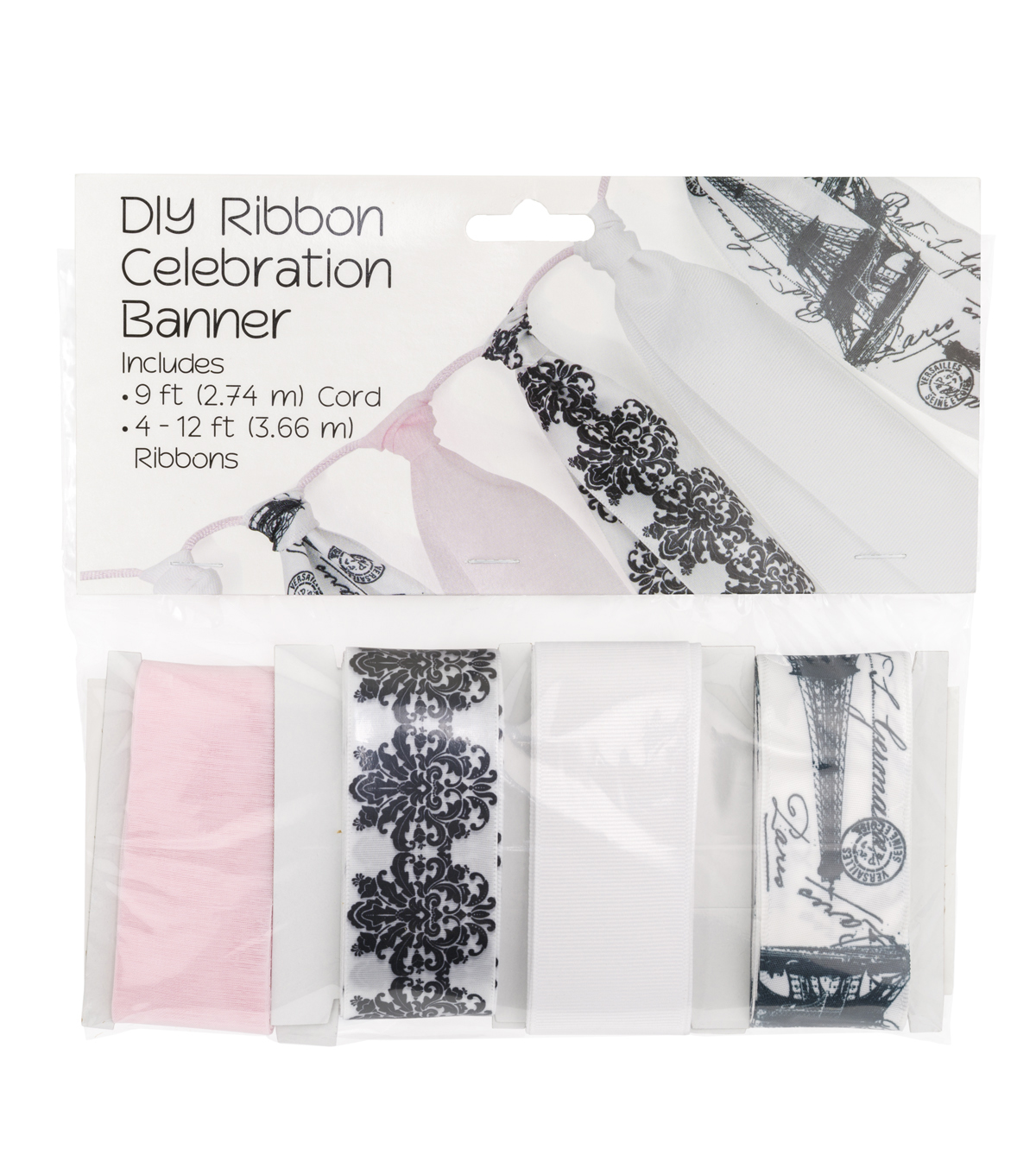 Offray DIY Ribbon Celebration Banner Kit-Paris