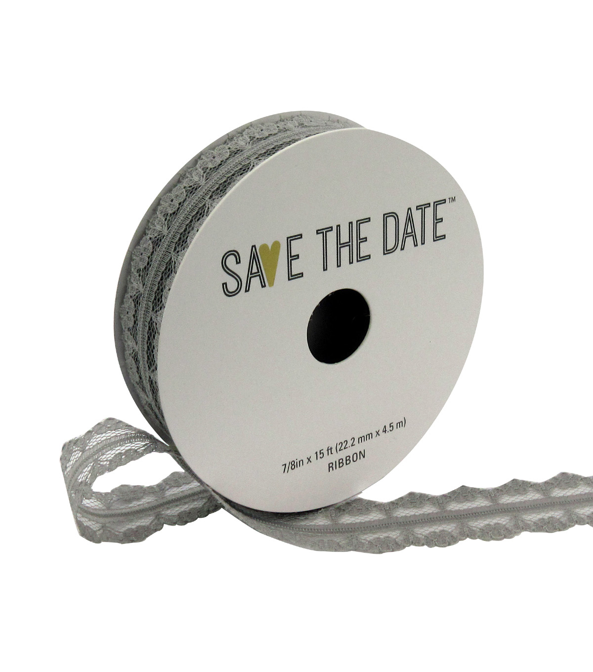 Save the Date 7/8\u0022 x 15ft Ribbon-Light Grey Lace