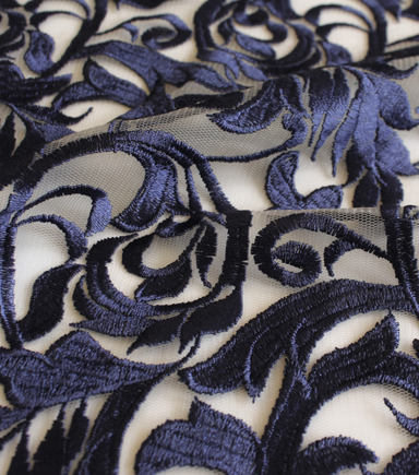 Casa Embellish Eventide Heavy Embroidered Fabric 58\u0022-Blue Print