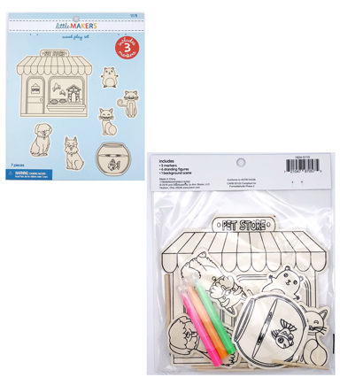 Little Makers Wood Coloring Kit-Pet
