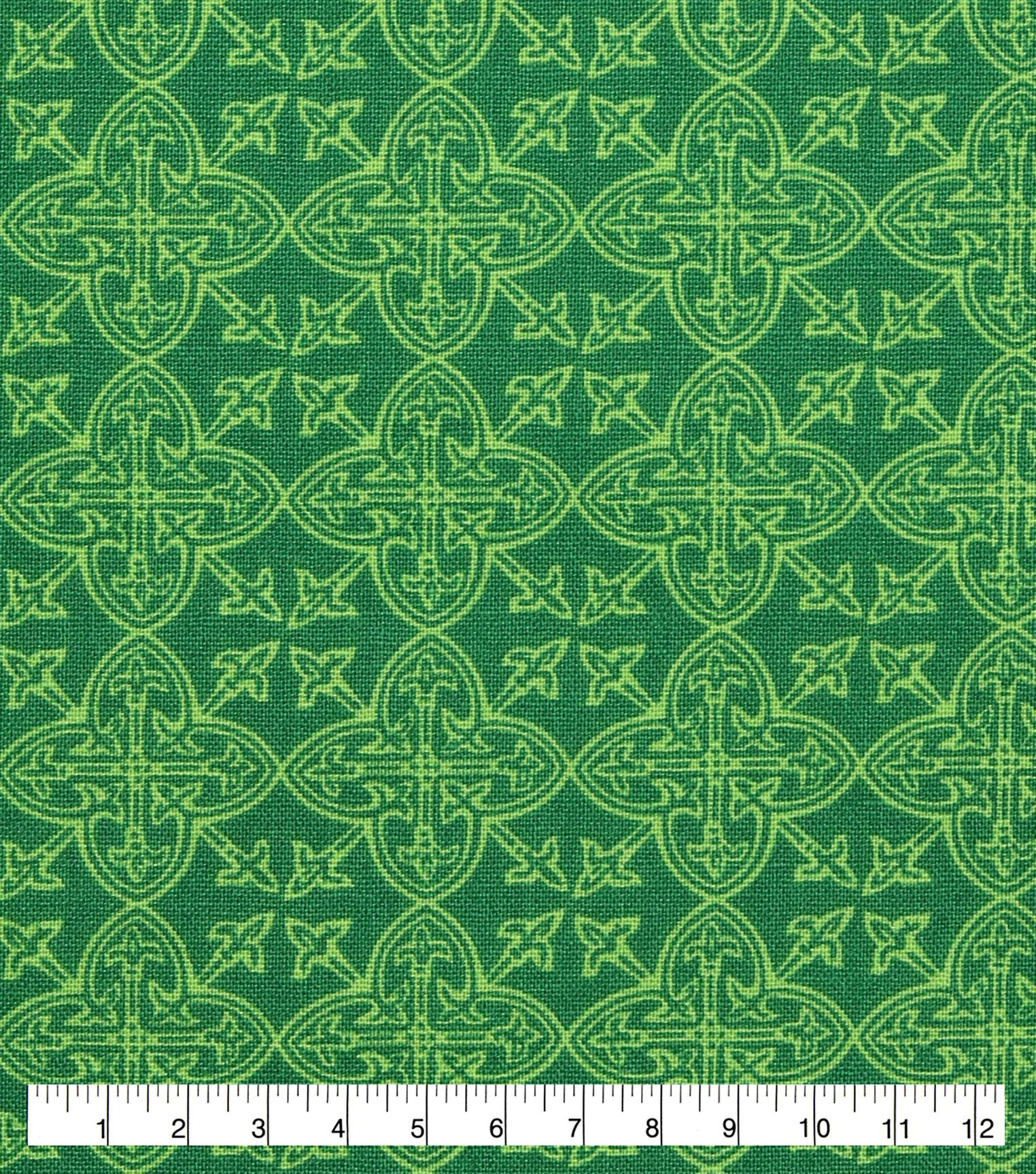 Lucky Irish Print Fabric Celtic Medallions Joann