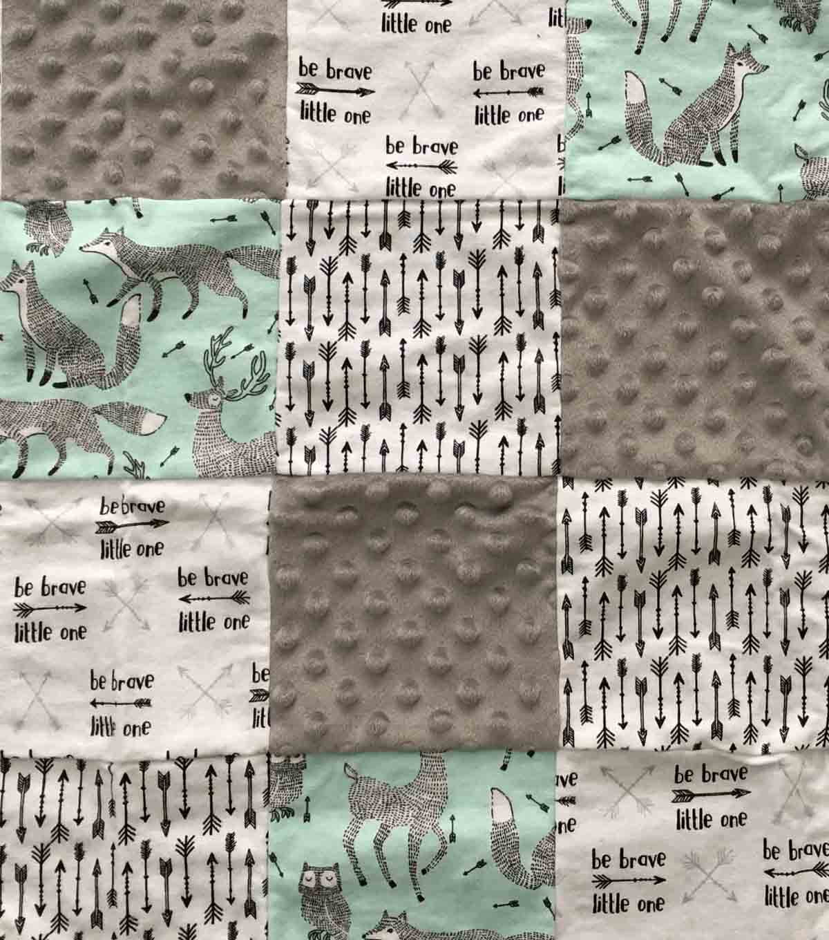 Nursery Cotton Blend Fabric -Be Brave Quilt Patchwork