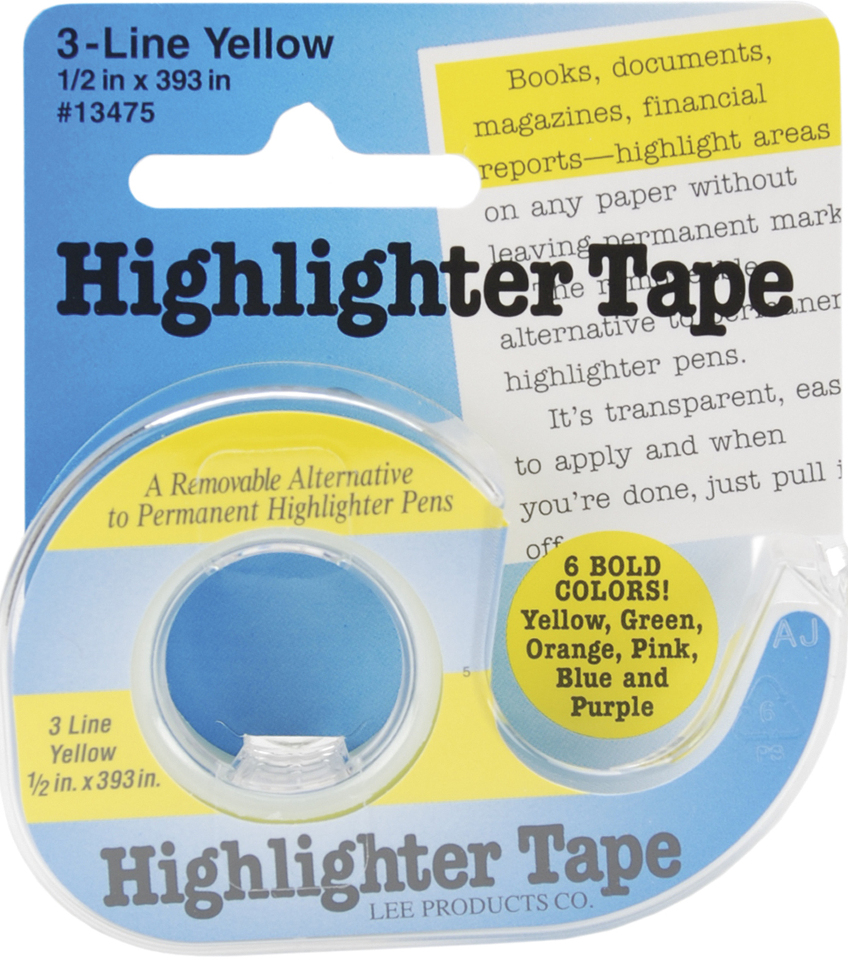 Highlighter Tape .5\u0022X393\u0022-Yellow
