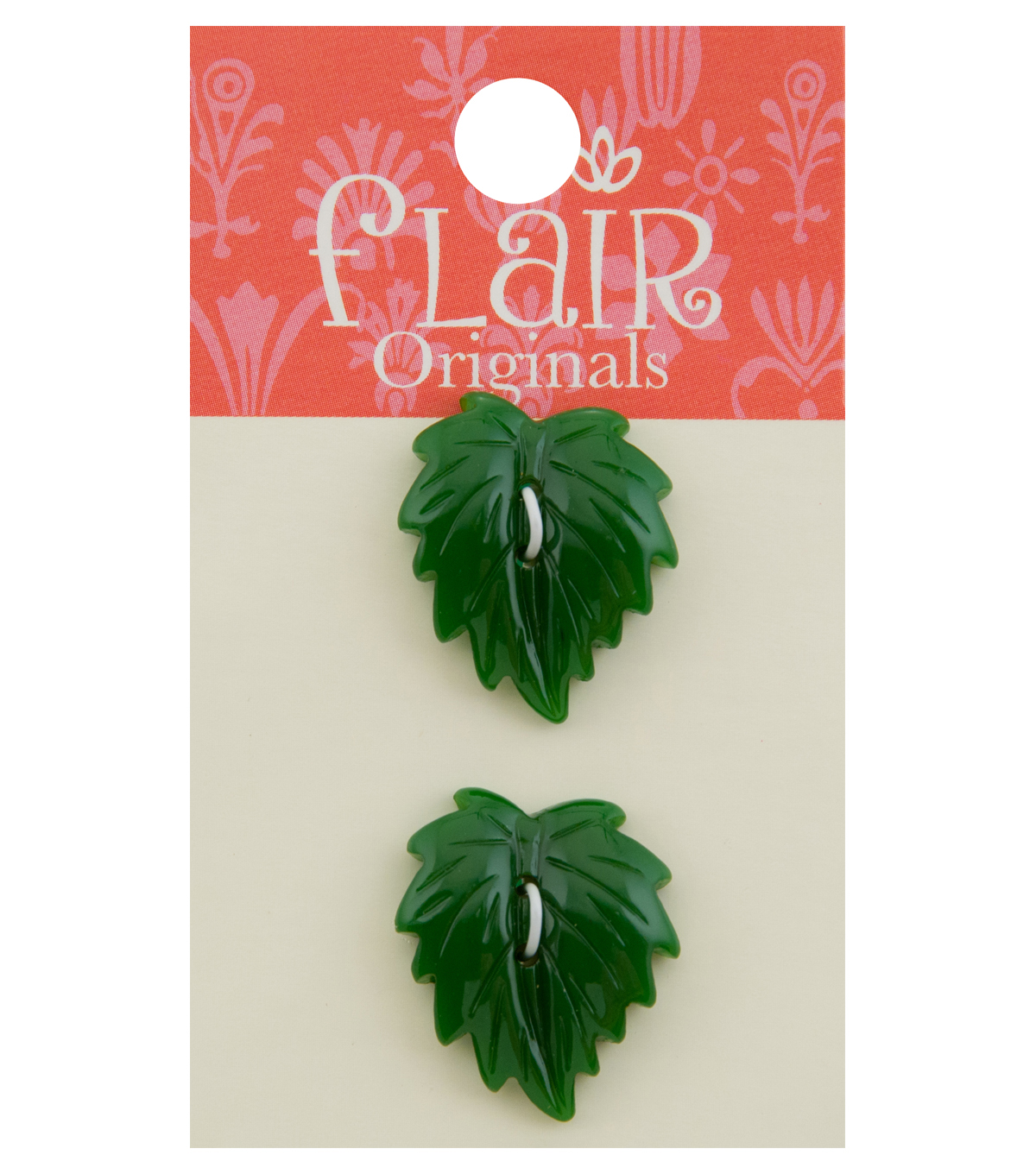 Flair Originals 2 pk 0.88\u0027\u0027 Shiny Leaf Buttons-Green