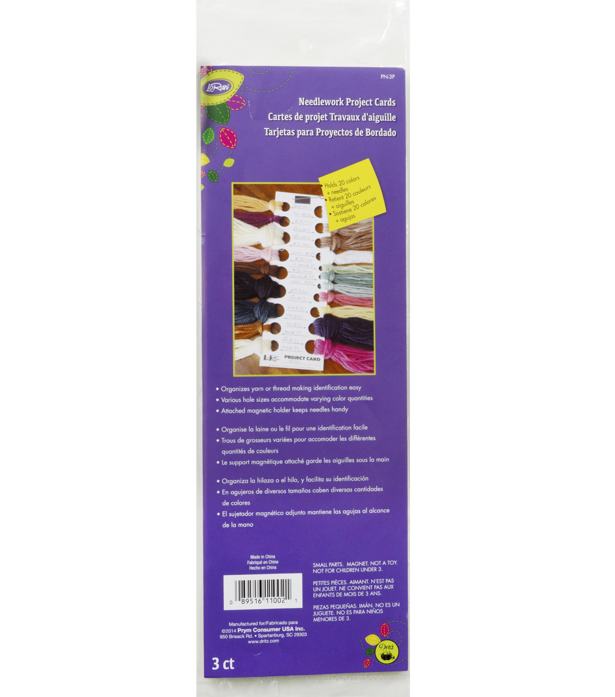 Dritz Project Card For Stitching Yarns 3pcs