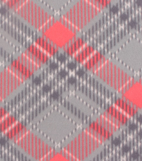 Blizzard Fleece Fabric -Gray & Coral Plaid