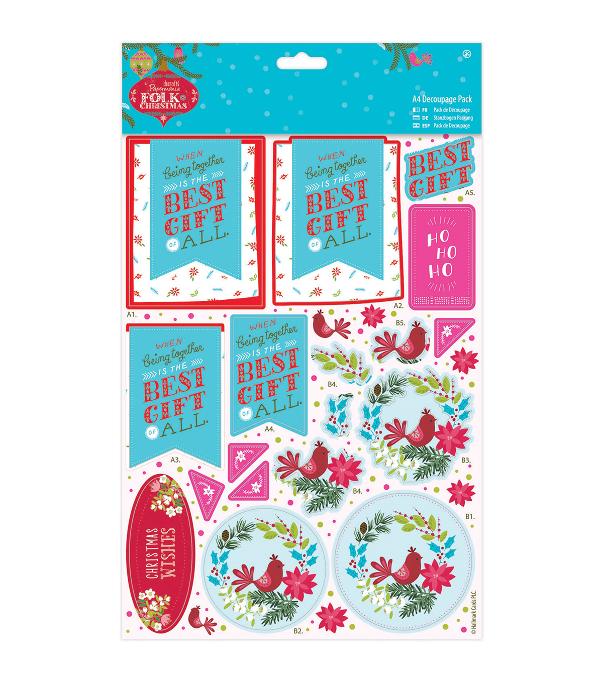Papermania Folk Christmas A4 Decoupage Pack-Best Gift