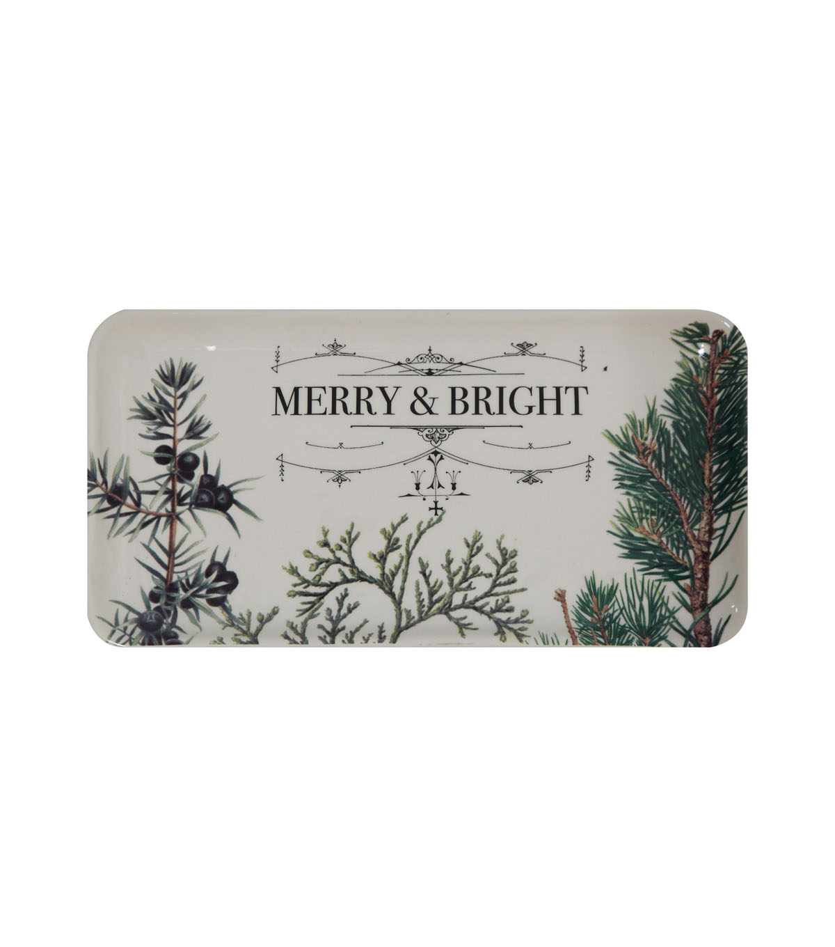 3R Studios Christmas Ceramic Plate-Botanical Holiday, Merry & Bright